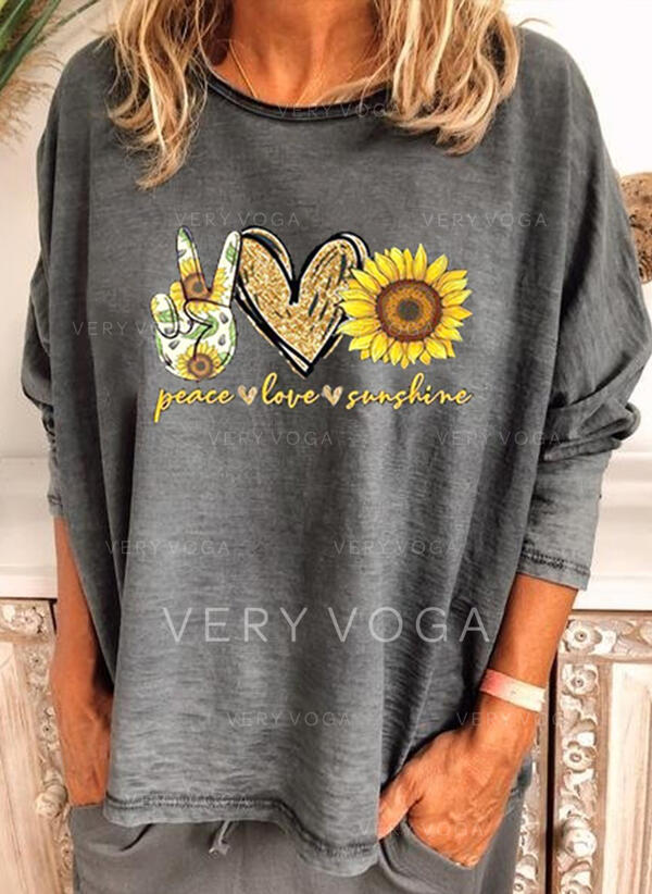 Sunflower Print Round Neck Long Sleeves