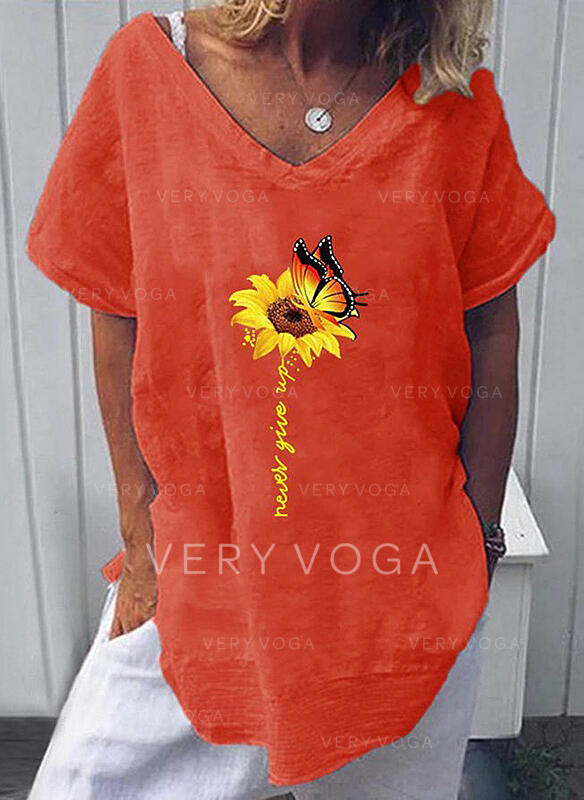 Animal Print Sunflower Print V-Neck Short Sleeves Casual Blouses