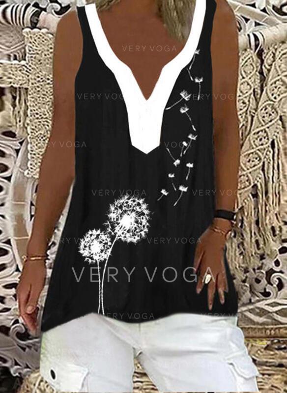 Blok Koloru Mlecz Nadruk Dekolt w kształcie litery V Bez Rękawów Koszulki bez rękawów