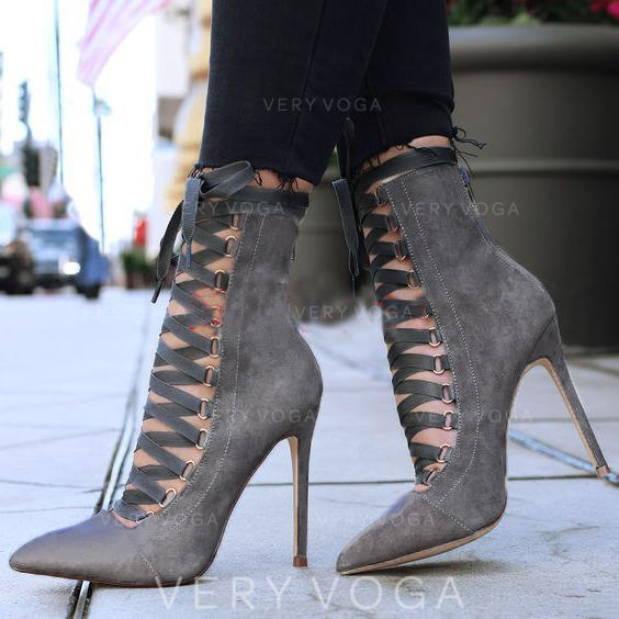 Women's PU Stiletto Heel Pumps With Lace-up shoes