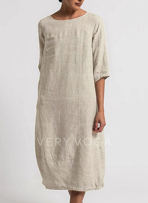 Solid 1/2 Sleeves Shift Tunic Casual Midi Dresses