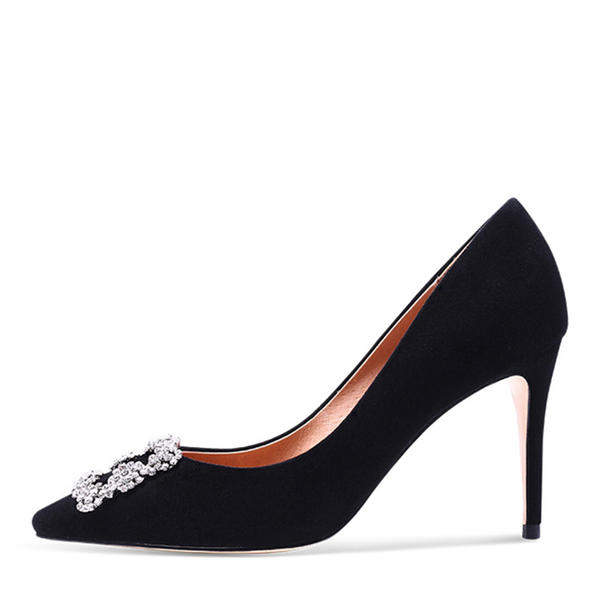 Women's Suede Mesh Stiletto Heel Pumps Closed Toe With Imitation Pearl Others Braided Strap Split Joint Elastic Band shoes