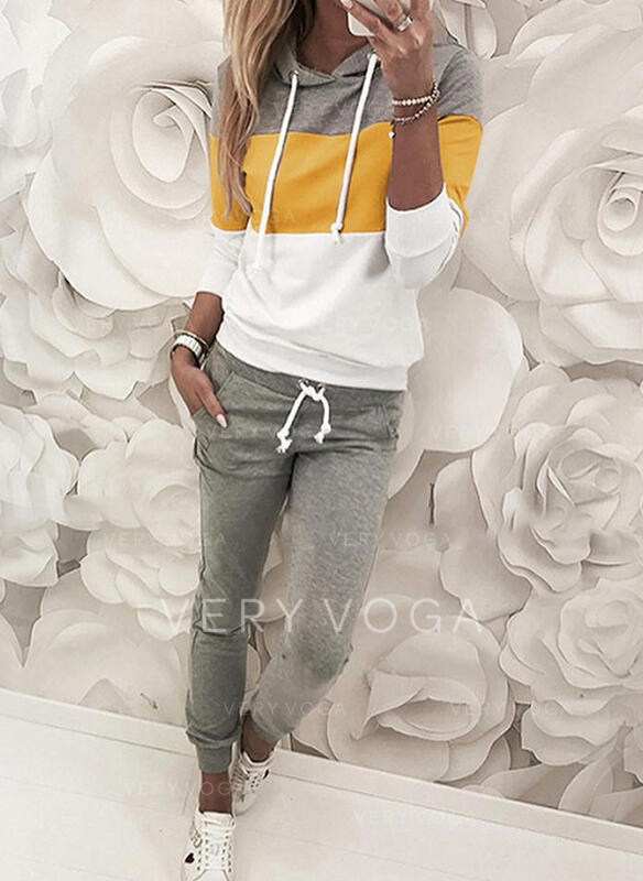 Color Block Casual Sporty Pocket Drawstring Two-Piece Outfits