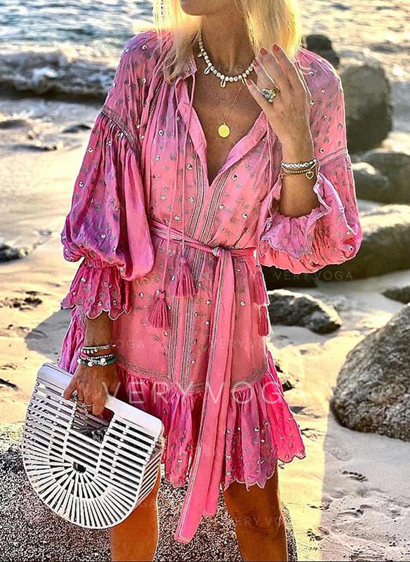 Print 3/4 Sleeves/Puff Sleeves A-line Above Knee Casual/Vacation Skater Dresses