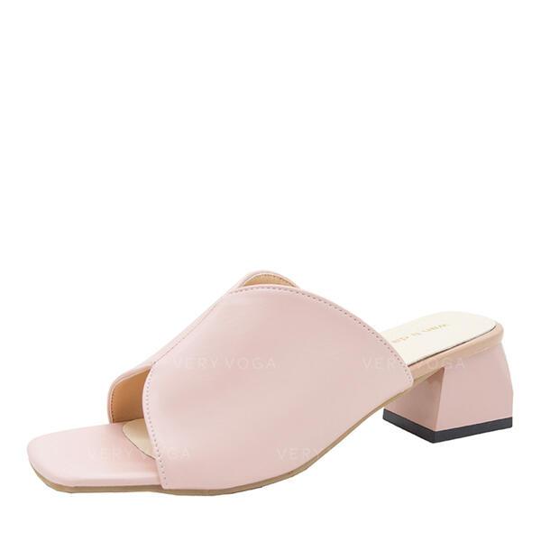 Mulheres Couro Salto robusto Peep toe Sapatos abertos Chinelos sapatos