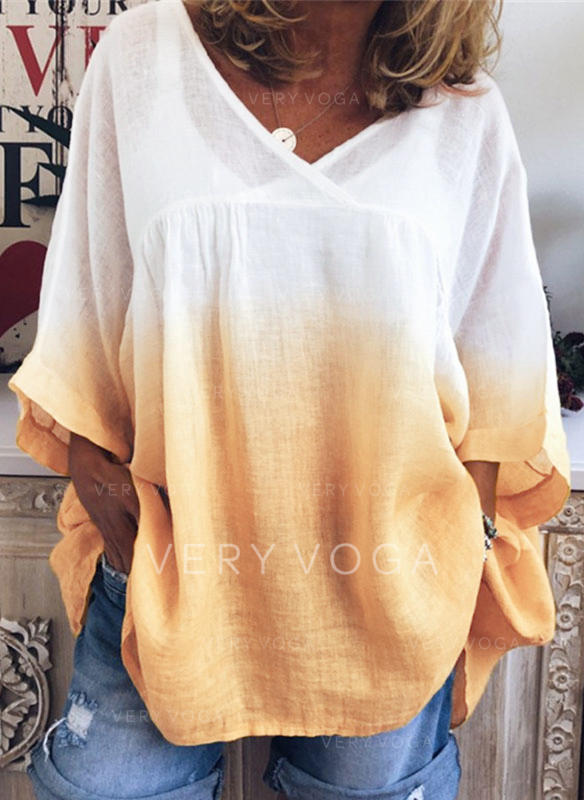 Color Block V-Neck Long Sleeves Casual T-shirts