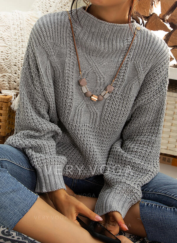 Solid Cable-knit Chunky knit Stand Collar Casual Sweaters (1002280022)