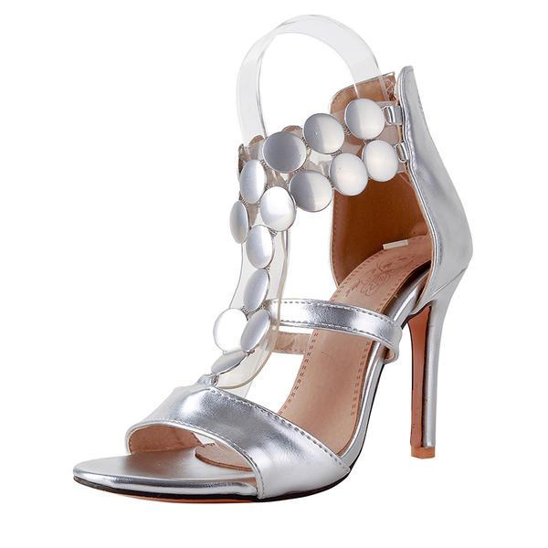 Femmes Cuir verni Talon stiletto Sandales Escarpins À bout ouvert avec Zip chaussures