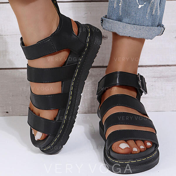 Women's PU Wedge Heel Sandals With Buckle Solid Color shoes