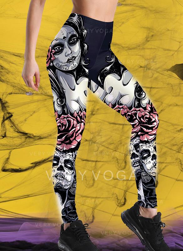 Print Plus Size Halloween Long Casual Sporty Yoga Leggings