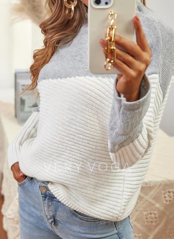 Impresión Trozos de color Cuello Alto Casual Suéteres