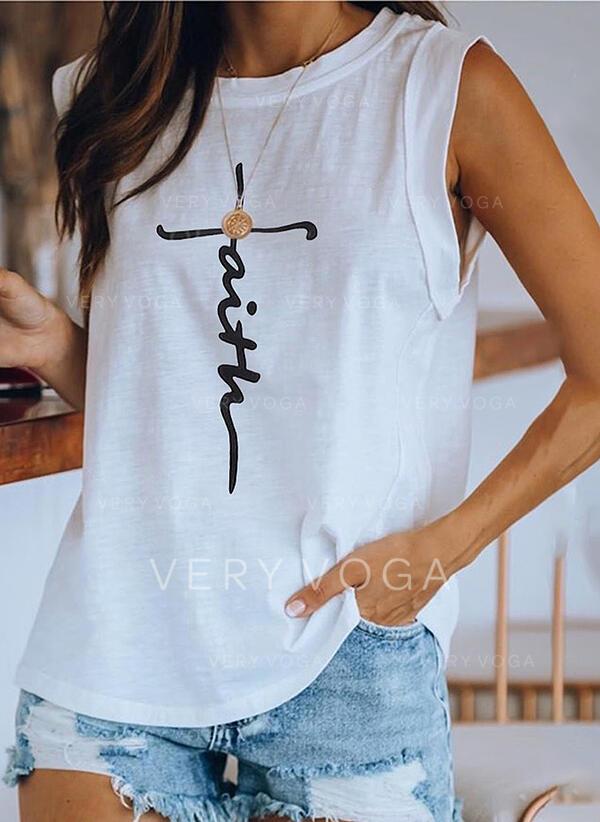 Estampado Gola Redonda Sem Mangas Casual Camisetas regata