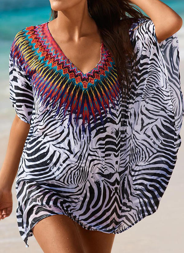Print V-neck Beautiful Cover-ups Swimsuits
