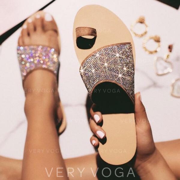 Mulheres Couro Sem salto Sandálias Chinelos com Espumante Glitter sapatos