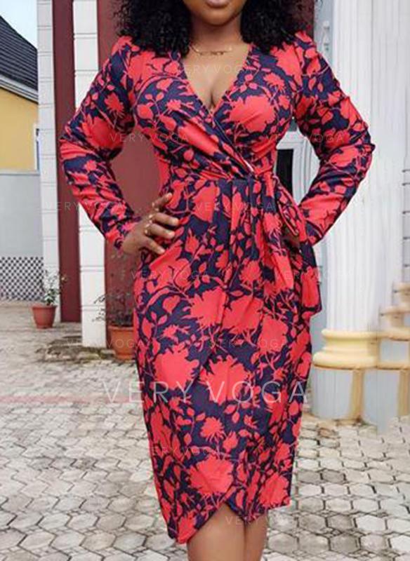 Print Long Sleeves Bodycon Casual/Elegant Midi Dresses
