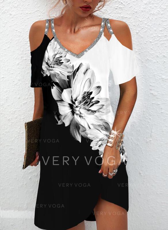 Print/Floral/Color Block Short Sleeves Cold Shoulder Sleeve Shift Above Knee Elegant Tunic Dresses