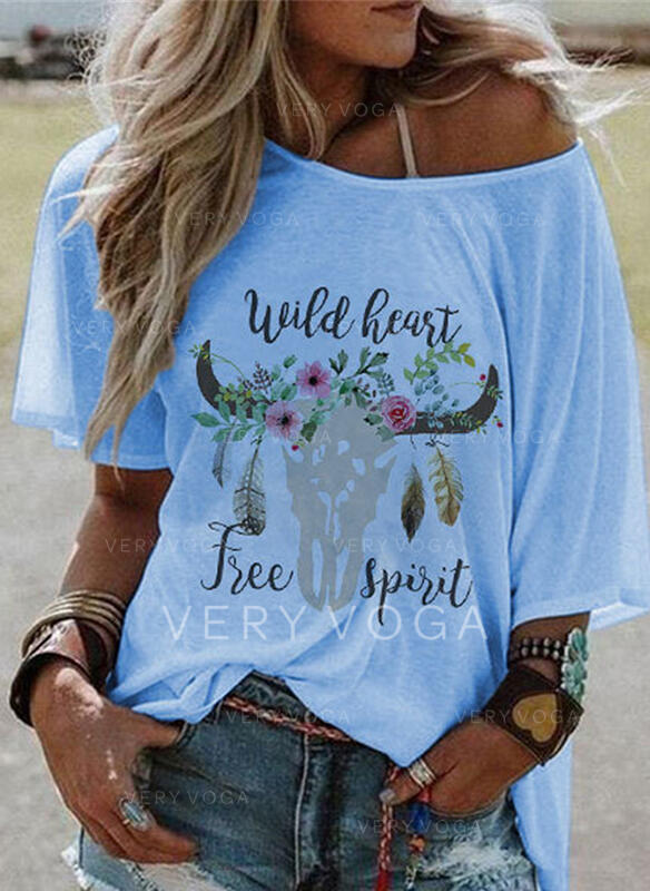 Blomstrete Trykk Tekst Animal Rund hals 1/2-ermer T-skjorter