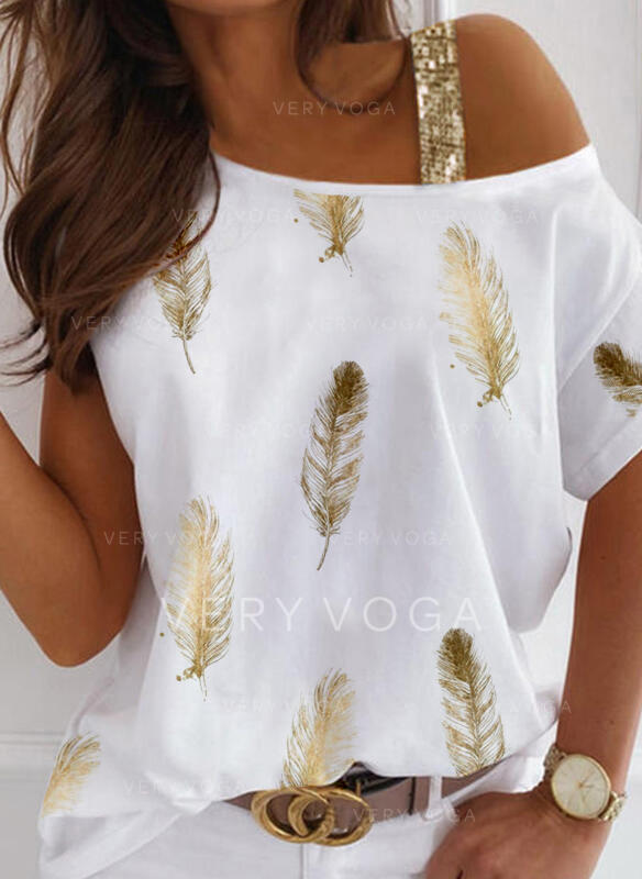 Print Feather Sequins One Shoulder Short Sleeves Casual Blouses