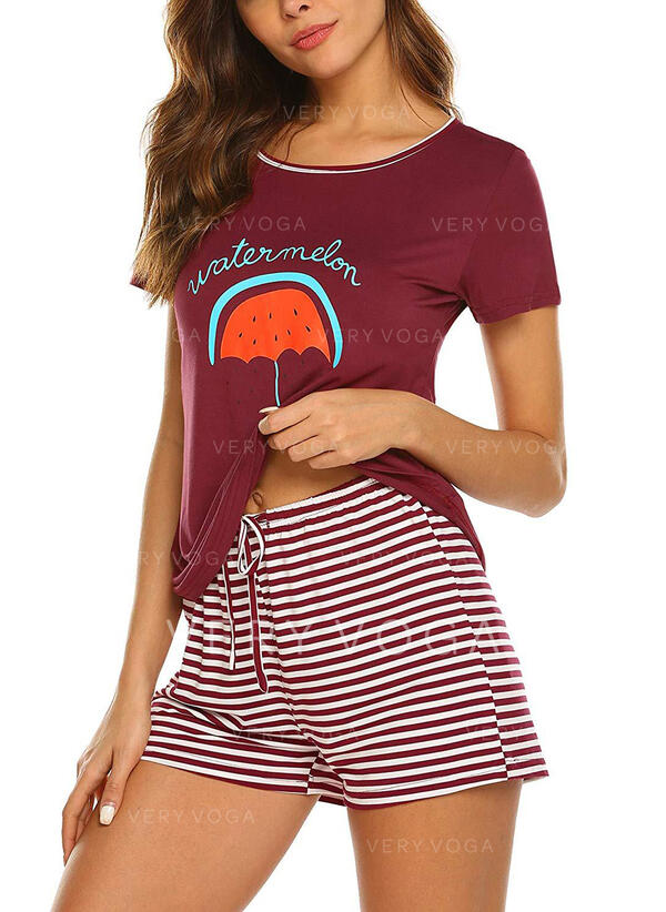 Round Neck Short Sleeves Print Casual Top & Short Sets