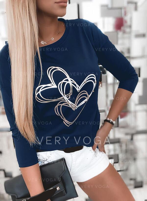 Drucken Herz Rundhalsausschnitt Lange Ärmel Freizeit T-shirts
