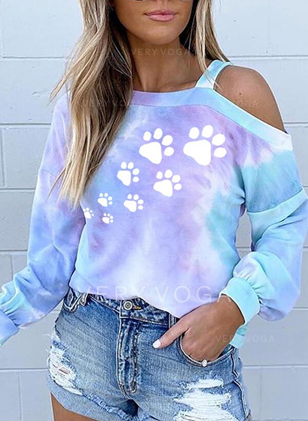 Animal Print Tie Dye One-Shoulder Long Sleeves Casual Blouses