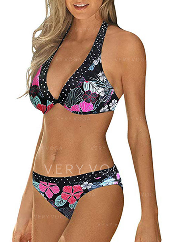 Floral Low Waist Halter Round Neck Sexy Casual Bikinis Swimsuits