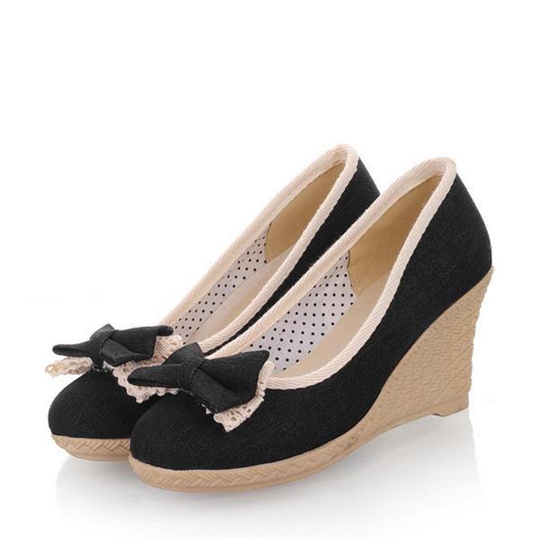 Femmes Treillis Talon compensé Escarpins Bout fermé Compensée avec Bowknot chaussures