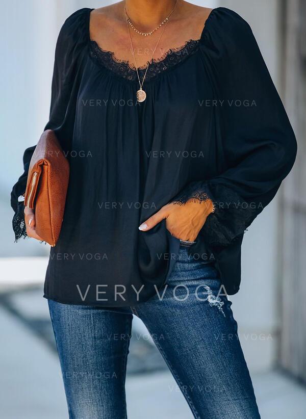 Solid Blonder V-hals Lange ermer Casual Bluser
