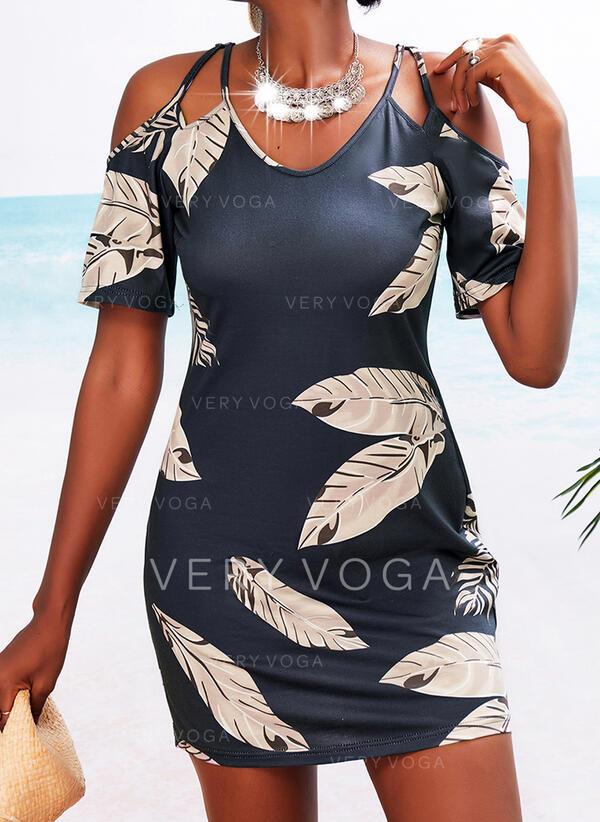 Print 1/2 Sleeves Sheath Above Knee Casual Dresses