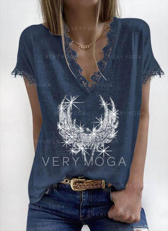 Lace Sequins V-Neck Short Sleeves Casual Blouses