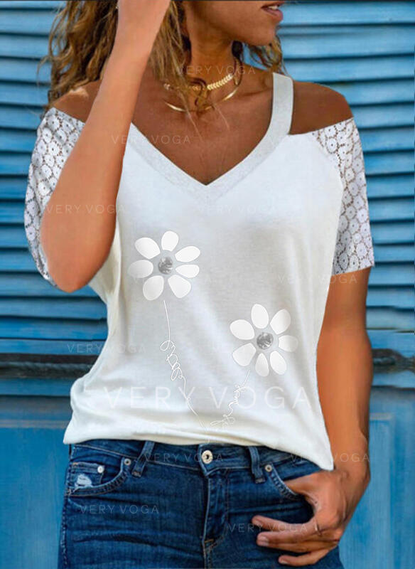Print Floral Lace Figure Cold Shoulder Short Sleeves Casual Blouses