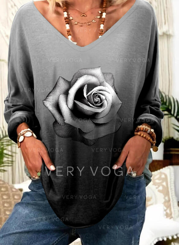 Impresión Floral Degradada Cuello en V Manga Larga Casual Camisetas