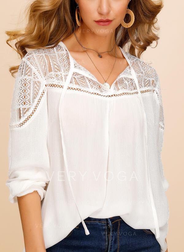 Lace V-Neck Long Sleeves Casual Elegant Blouses