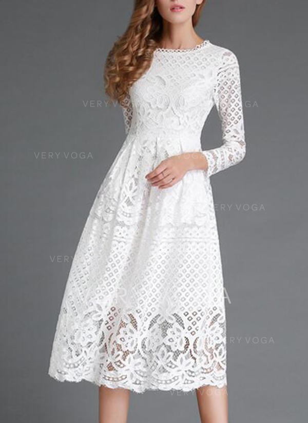 Lace/Solid Long Sleeves A-line Midi Little Black/Casual/Party/Elegant Dresses