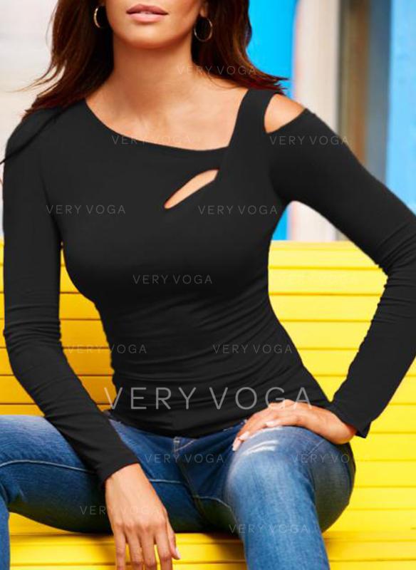 Couleur Unie Col Rond Manches Longues Décontractée Tricotage T-shirts