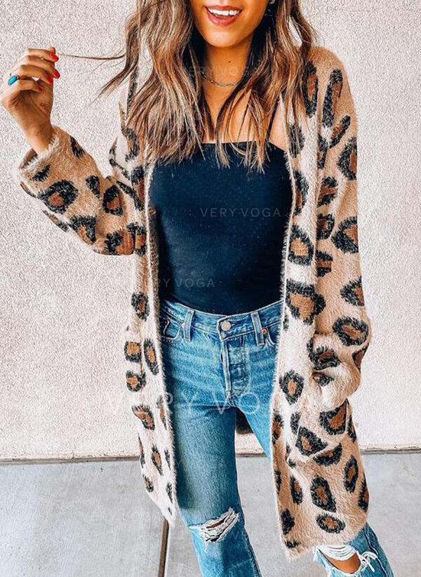 Lommer Leopard Casual Lang Cardigan