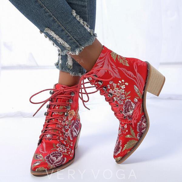 Vrouwen PU Chunky Heel Enkel Laarzen Puntige teen met Vastrijgen Floral Print schoenen