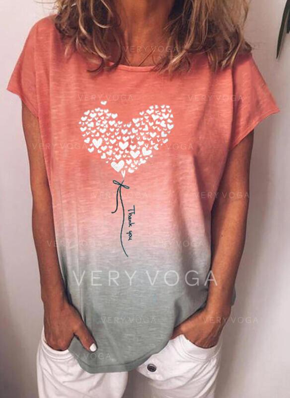 Gradient Serce Nadruk Wytłaczany Okrągły dekolt Krótkie rękawy T-shirty