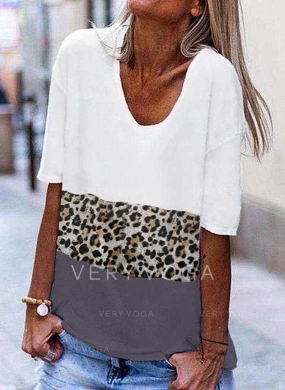 Print Patchwork Leopard V-Neck 1/2 Sleeves Casual T-shirts