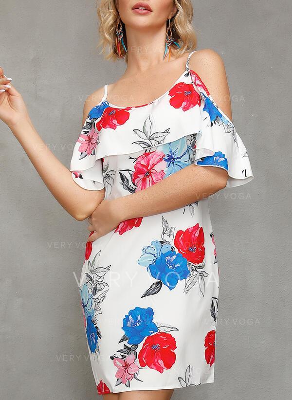 Impresión/Floral Top sin hombros Tendencia Sobre la Rodilla Casual/Bohemio/Vacaciones Vestidos