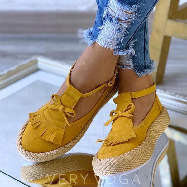 Femmes Suède Talon plat Chaussures plates avec Bowknot Tassel chaussures