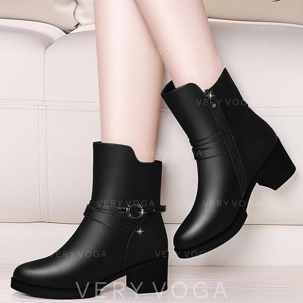 Női PU Chunky sarok Csizma -Val Csat cipő