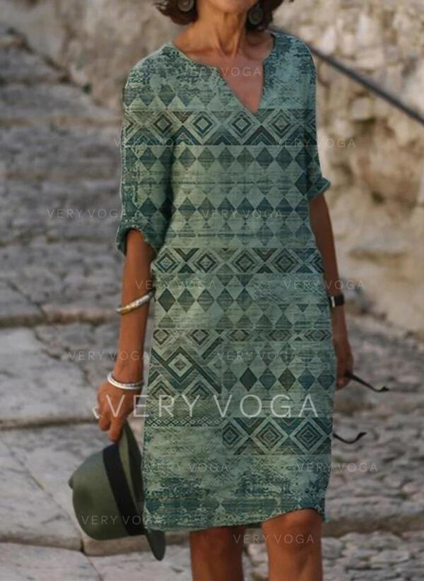 Print 1/2 Sleeves Shift Knee Length Casual/Boho/Vacation Tunic Dresses