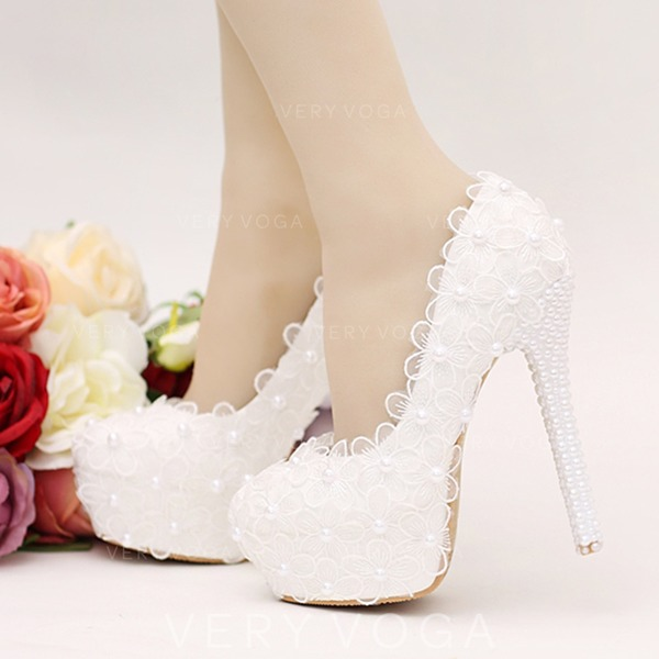 Women's Leatherette Stiletto Heel Platform Pumps With Flower Lace-up