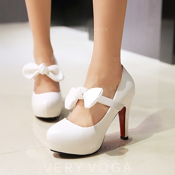 Women's Leatherette Stiletto Heel Closed Toe Pumps With Bowknot