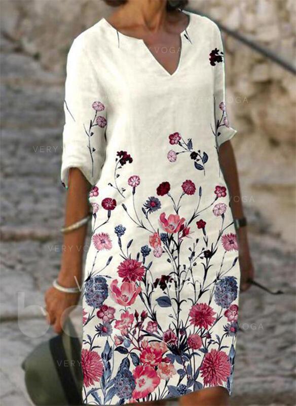 Imprimeu/Floral Mâneci la Jumătate Shift Elbiseleri Până la Genunchi gündelik Tunică Elbiseler