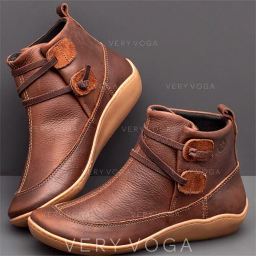Vrouwen PU Flat Heel Flats Closed Toe Laarzen Enkel Laarzen met Gesp schoenen