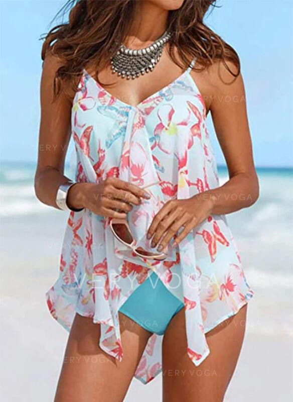 Floral Print Strap V-Neck Fresh Tankinis Swimsuits