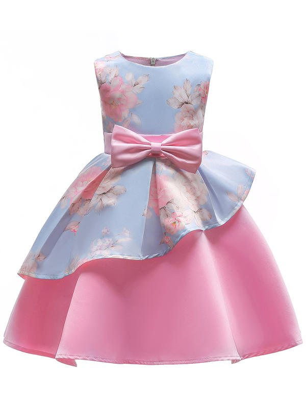 Girls Round Neck Floral Print Bow Cute Party Dress