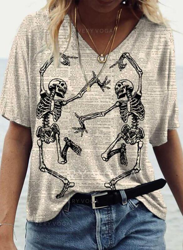 Trykk V-hals Korte ermer Casual Allehelgensaften T-skjorter